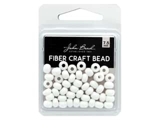 John Bead Fiber Craft Beads 7.5 mm Opaque White