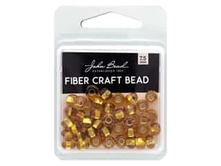twine: John Bead Fiber Craft Beads 7.5 mm Transparent Topaz Silver Lined