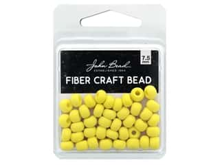 twine: John Bead Fiber Craft Beads 7.5 mm Opaque Lemon Yellow Matte