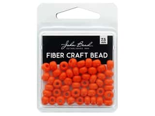 John Bead Fiber Craft Beads 7.5 mm Opaque Orange