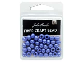 John Bead Fiber Craft Beads 7.5 mm Opaque Royal Blue Luster