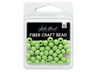beading & jewelry making supplies: John Bead Fiber Craft Beads 7.5 mm Opaque Pale Green