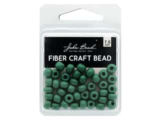 beading & jewelry making supplies: John Bead Fiber Craft Beads 7.5 mm Opaque Green