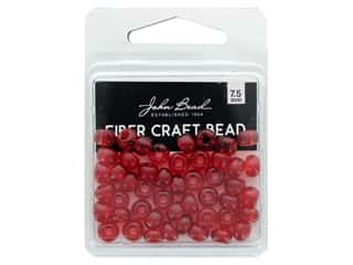 John Bead Fiber Craft Beads 7.5 mm Transparent Red