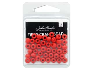 twine: John Bead Fiber Craft Beads 7.5 mm Opaque Light Red