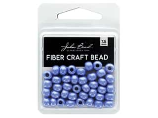 John Bead Fiber Craft Beads 7.5 mm Opaque Pale Blue Luster