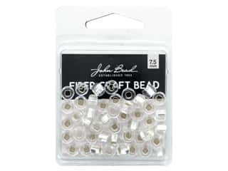 twine: John Bead Fiber Craft Beads 7.5 mm Crystal Silver Lined