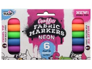 Tulip Fabric Marker Dual Tip Graffiti Neon 6 pc