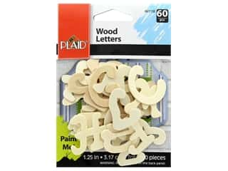 Plaid Wood Letters 1.25 in. 60 pc