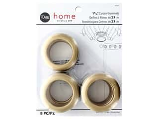 Dritz Home Curtain Grommets 1 9/16 in. Round Matte Gold 8 pc