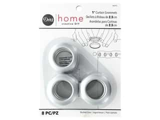 Dritz Home Curtain Grommets 1 in. Round Brushed Silver 8 pc