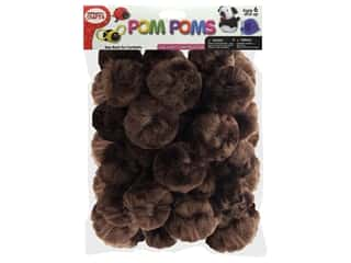 "Pepperell Pom Poms 2"" Brown 25pc"