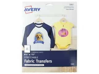 scrapbooking & paper crafts: Avery Fabric Transfers for Inkjet Printers 8 1/2 x 11 in. Stretchable 5 pc.