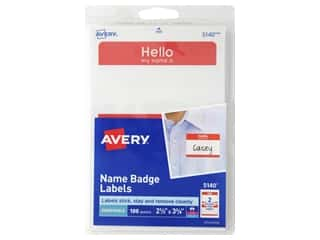 Avery Name Badge Labels 2 11/32 x 3 3/8 in. Red 100 pc.