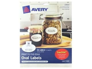 scrapbooking & paper crafts: Avery Print-To-The Edge Oval Labels 1 1/2 x 2 1/2 in. Glossy White 90 pc.