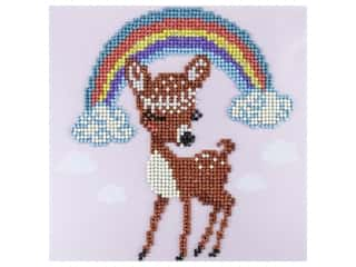 beading & jewelry making supplies: Diamond Art Kit 8 in. x 8 in. Sparkle Rainbow Deer