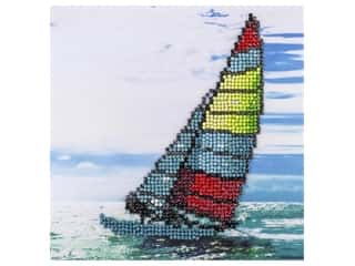 beading & jewelry making supplies: Diamond Art Kit 8 in. x 8 in. Beginner Sailboat