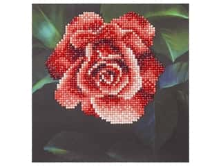 beading & jewelry making supplies: Diamond Art Kit 8 in. x 8 in. Beginner Red Rose