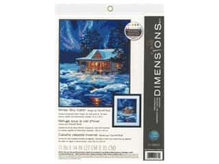 yarn & needlework: Dimensions Needlepoint Kit 11 in. x 14 in. Winter Sky Cabin