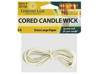 paraffin wax: Country Lane Candle Wick Paper Core Extra Large 6 ft.