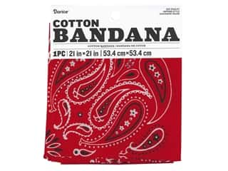 craft & hobbies: Darice Bandana 21 x 21 in. Paisley Red
