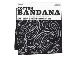craft & hobbies: Darice Bandana 21 x 21 in. Paisley Black