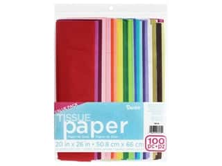 gifts & giftwrap: Darice Tissue Paper 20 in. x 26 in. Value Pack Solid Assorted 100 pc