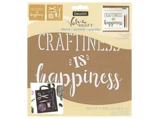 craft & hobbies: DecoArt Stencil Value Kraft 8 in. x 8 in. Happy Crafting