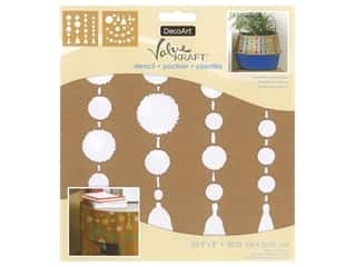 DecoArt Stencil Value Kraft 8 in. x 8 in. Pom Poms & Tassels