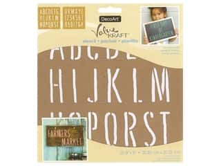 craft & hobbies: DecoArt Stencil Value Kraft 8 in. x 8 in. Farmhouse Font