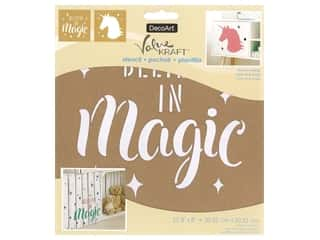 craft & hobbies: DecoArt Stencil Value Kraft 8 in. x 8 in. Believe In Magic