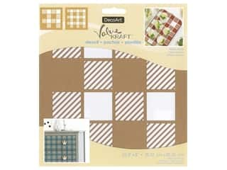 DecoArt Stencil Value Kraft 8 in. x 8 in. Buffalo Check