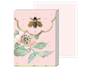 gifts & giftwrap: Punch Studio Note Pad Mini Brooch Pink Floral Bee