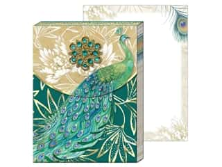 gifts & giftwrap: Punch Studio Note Pad Mini Brooch Emerald Peacock