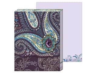 gifts & giftwrap: Punch Studio Note Pad Mini Brooch Purple Paisley