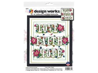 yarn & needlework: Design Works Cross Stitch Kit 8 in. x 10 in. Counted Love Faith Hope