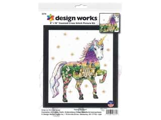 yarn & needlework: Design Works Cross Stitch Kit 8 in. x 10 in. Counted Scenic Unicorn