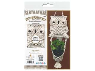 craft & hobbies: Design Works Kit Zenbroidery Macrame Owl Planter
