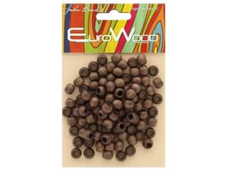 beading & jewelry making supplies: John Bead Wood Bead Round Large Hole 8 x 6.5 mm Dark Brown