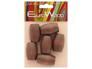 craft & hobbies: John Bead Wood Bead Oval Large Hole 22 x 33 mm Dark Brown