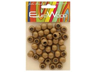 John Bead Wood Bead Round Large Hole 12 x 9.8 mm Coffee