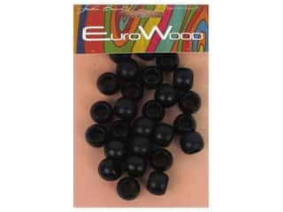 beading & jewelry making supplies: John Bead Wood Bead Round Large Hole 14 x 11 mm Black