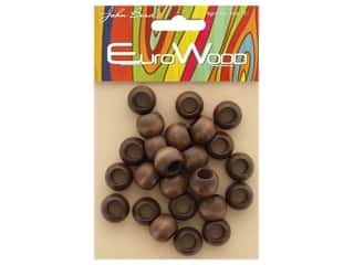 craft & hobbies: John Bead Wood Bead Round Large Hole 14 x 11 mm Dark Brown