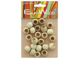 John Bead Wood Bead Round Large Hole 14 x 11 mm Natural