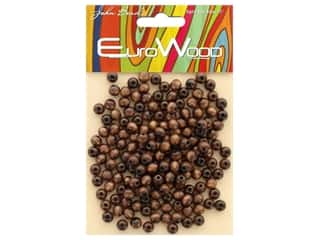 John Bead Wood Bead Round 6 mm Dark Brown