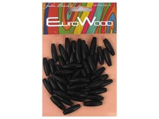 beading & jewelry making supplies: John Bead Wood Bead Spaghetti 6 x 20 mm Black