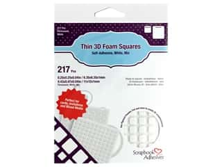 glues, adhesives & tapes: Scrapbook Adhesives Thin 3D Foam Squares - White Mix 217 pc.