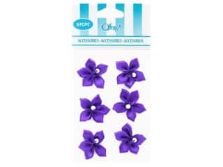 decorative floral: Offray Violet Ribbon Flower with Pearl 6 pc. Purple