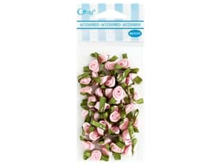 decorative floral: Offray Small Satin Ribbon Roses 40 pc. Light Pink