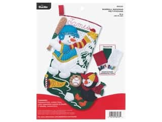 yarn & needlework: Bucilla Felt Kit Baseball Snowman 18 in. Stocking